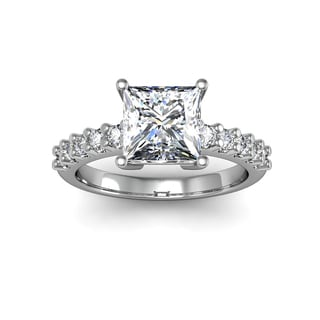 14k White Gold 1 7/8ct TDW Traditional Diamond Engagement Ring with 1 1/2ct Princess-cut Center Ston