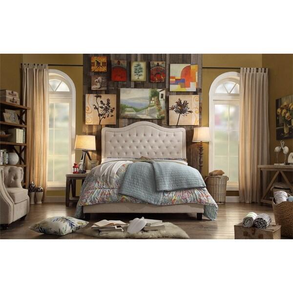 Adella Linen Tufted Upholstered Full Size Bed Frame