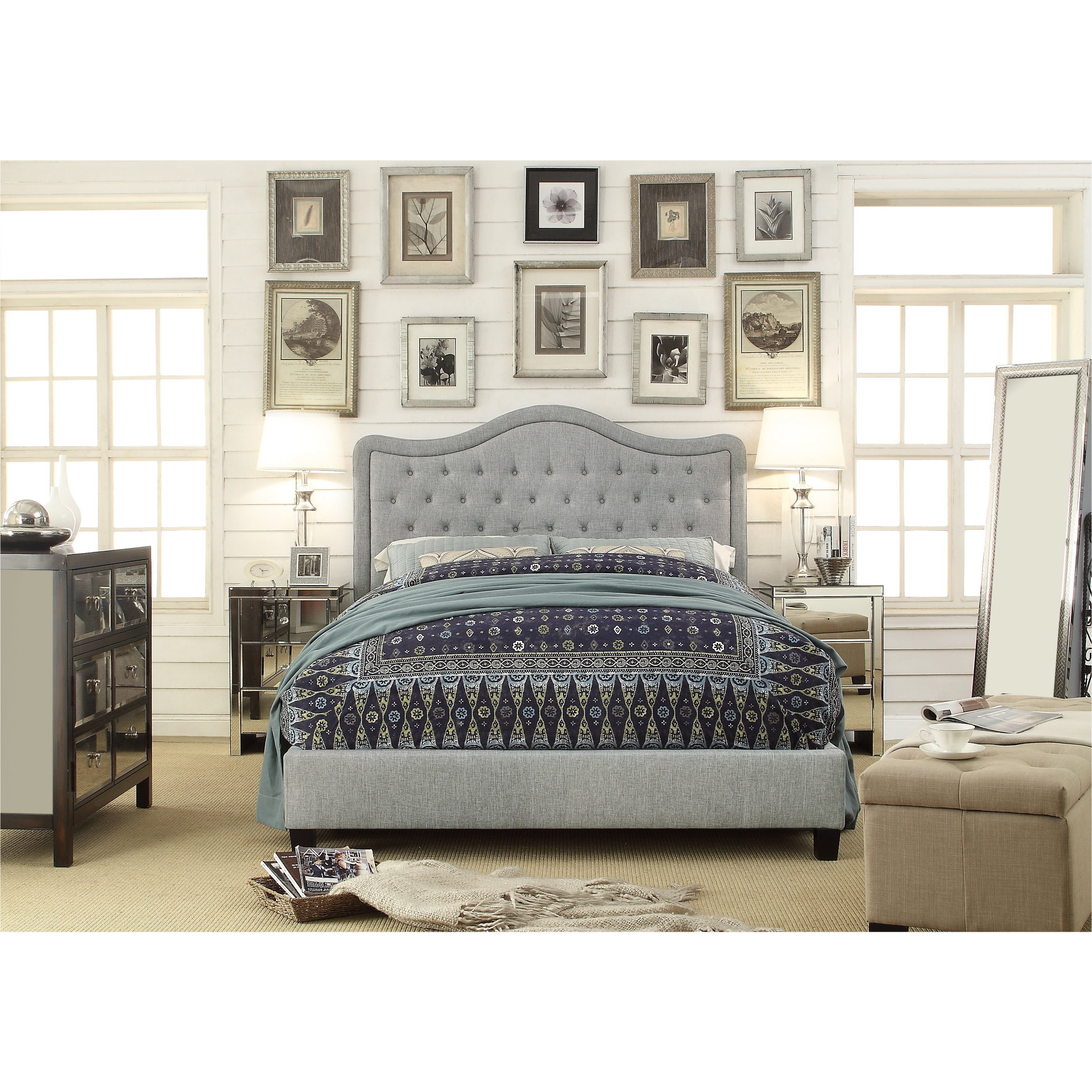 Adella Linen Tufted Upholstered Queen Size Bed Frame (Grey)