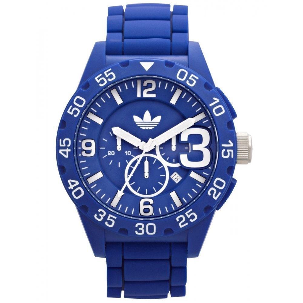Adidas Men's Newburgh Blue Chronograph Rubber Strap Watch...