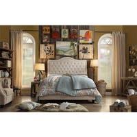 Adella Linen Tufted Upholstered King Size Bed Frame
