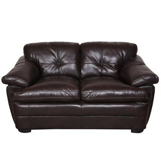 Porter Contender Pebbled Brown Bonded Leather Loveseat