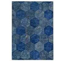M.A. Trading Hand-tufted Honey Comb Turquoise Rug (6'6 x 9'6)