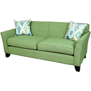 Porter Clover Fern Green Mid-century Modern Sofa with 2 Teal Ikat Accent Pillows