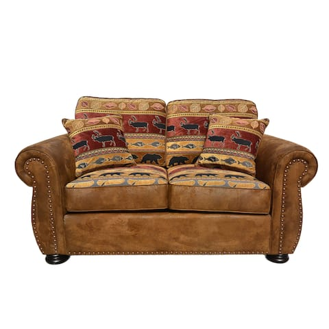 "Porter Hunter Lodge Style Brown Loveseat with Deer, Bear and Fish Fabric - 39""H x 39""D x 62""W"