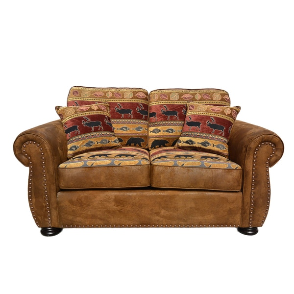 Porter Hunter Lodge Style Brown Loveseat with Deer, Bear and Fish Fabric