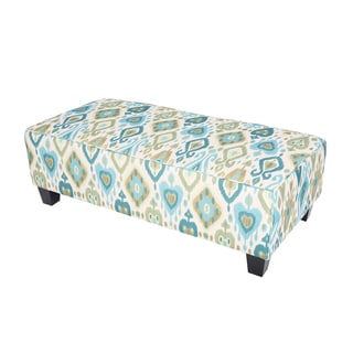 Porter Clover Green Teal and Blue Ikat Rectangle Ottoman
