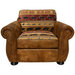 Porter Hunter Lodge Style Brown Accent Chair with Deer, Bear and Fish Woven Fabric