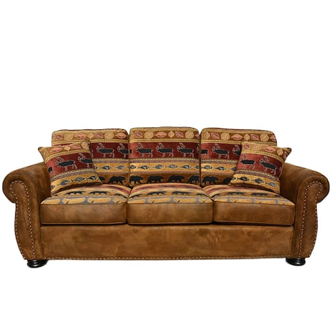 Porter Hunter Lodge Style Brown Sofa With Deer Bear And Fish Fabric 39
