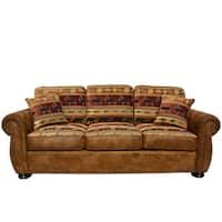 Porter Hunter Lodge Style Brown Sofa with Deer, Bear and Fish Fabric