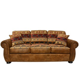 Porter Hunter Lodge Style Brown Sofa with Deer, Bear and Fish Fabric