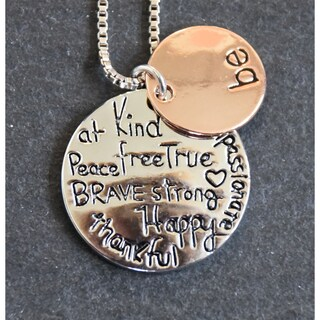 Mint Jules 'Be: At Peace, Kind, Free, True, Brave, Strong, Happy, Thankful, Passionate' Inspirational Pendant