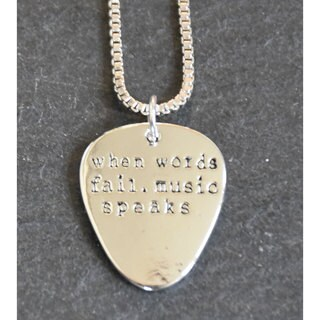 Mint Jules 'When Words Fail, Music Speaks' Guitar Pick Inspirational Pendant - Silver