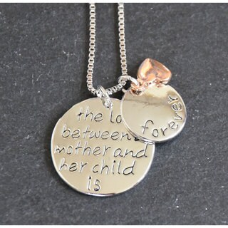 Mint Jules 'The Love Between a Mother and Her Child is Forever' Inspirational Pendant - Silver