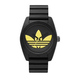 Adidas Men's Santiago Black and Yellow Dial Silicone Quartz Watch