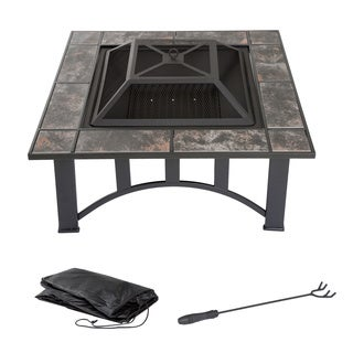 Pure Garden 33-inch Square Tile Fire Pit with Cover