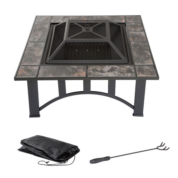 Wood Burning 33-inch Square Marble Tile Firepit Set with Spark Screen, Cover, and Log Poker by Pure Garden