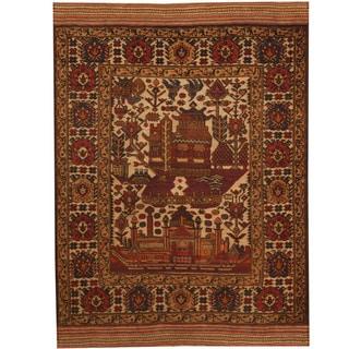 Herat Oriental Afghan Hand-woven Soumak Kilim Ivory/ Red Wool Rug (3'4 x 5')