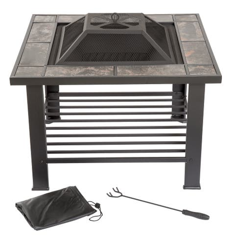 Wood Burning 30-inch Square Marble Tile Firepit Set with Spark Screen, Cover, and Log Poker by Pure Garden