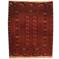 Herat Oriental Afghan Hand-knotted 1960s Semi-antique Turkoman Wool Rug (4'7 x 5'6)