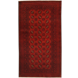 Herat Oriental Afghan Hand-knotted 1960s Semi-antique Tribal Balouchi Wool Rug (3'7 x 6'6)