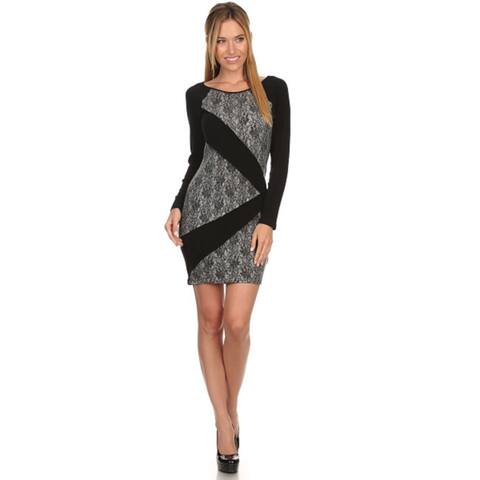 High Secret Women's Tunic Black Long-sleeve Bodycon Dress