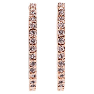Kabella 14k Rose Gold 3/5ct TDW Diamond Hoop Earrings