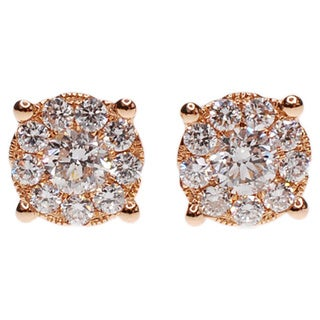 Kabella 18k Rose Gold 1/4ct TDW Diamond Cluster Stud Earrings