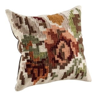 M.A. Trading Hand-woven Karba2 Cream Pillow (16-inch x 16-inch)