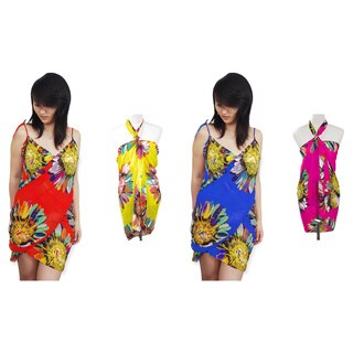 Pack of 4: Stylish Sunflower Design Sarong -Scarf Pareo Beachwear Beach Dresses Wrap