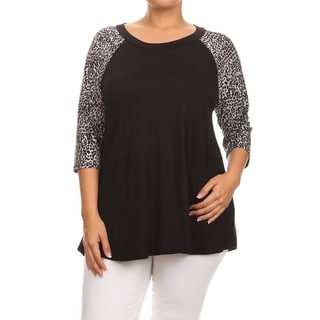 MOA Collection Plus Women's Animal Sleeve Top