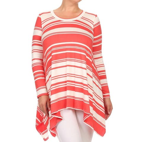 MOA Collection Plus Size Striped Shirt Dress