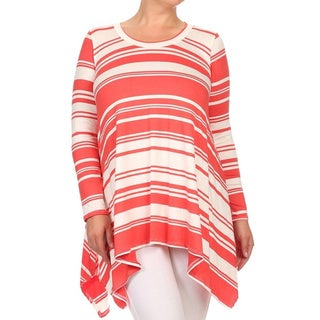 MOA Collection Plus Size Striped Shirt Dress