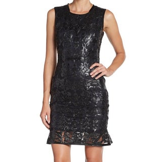 Elie Tahari Women's 'Sierra' Leather Lace Dress
