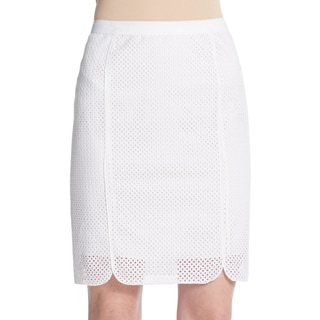 Elie Tahari Molly Women's White Eyelet Pencil Skirt