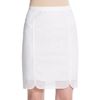 Elie Tahari Molly Women's White Eyelet Pencil Skirt