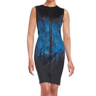 T Tahari Avani Blue Scuba Dress