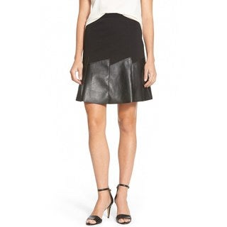 T Tahari Nyla Bkack Faux Leather Panel Skirt