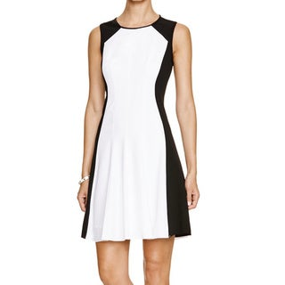 T Tahari Brooke White Color Block Fit and Flare Dress