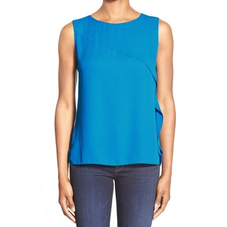 T Tahari Blue Elsa Sleeveless Blouse