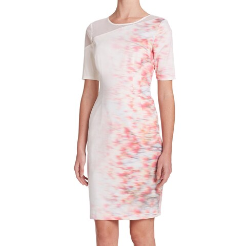 Elie Tahari Emory White Digital Print Dress