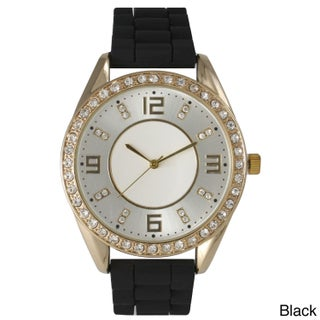 Olivia Pratt Women's Silicone Polished Rhinestone Boyfriend Style Watch (More options available)