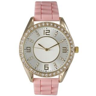 Olivia Pratt Women's Silicone Polished Rhinestone Boyfriend Style Watch