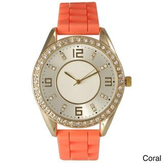 Olivia Pratt Women's Silicone Polished Rhinestone Boyfriend Style Watch (Option: Coral)
