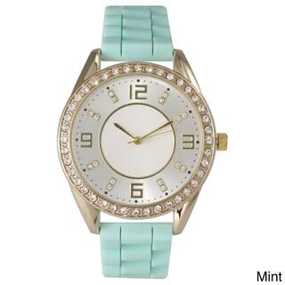 Olivia Pratt Women's Silicone Polished Rhinestone Boyfriend Style Watch (Option: Mint)