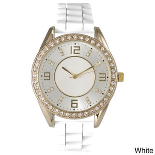 Olivia Pratt Women's Silicone Polished Rhinestone Boyfriend Style Watch (Option: White)