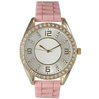 Olivia Pratt Women's Silicone Polished Rhinestone Boyfriend Style Watch