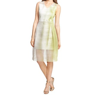 Elie Tahari Ally Green Mesh Overlay Dress