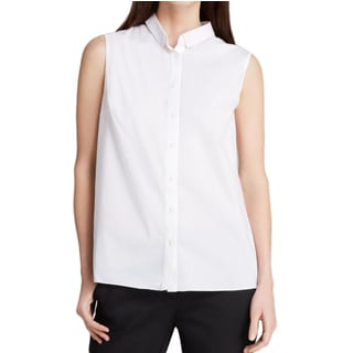 T Tahari Jae White Sleeveless Blouse
