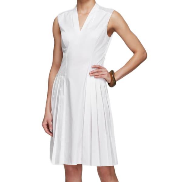 Elie Tahari Jessy White Cotton Pleated Dress -  Fashion Habits LLC, ETJESSY